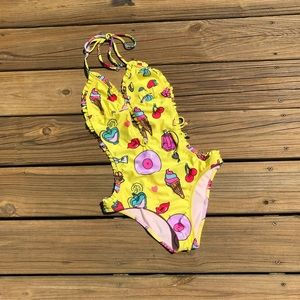 Wildfox Yellow Cherry Lipstick One Piece Swim